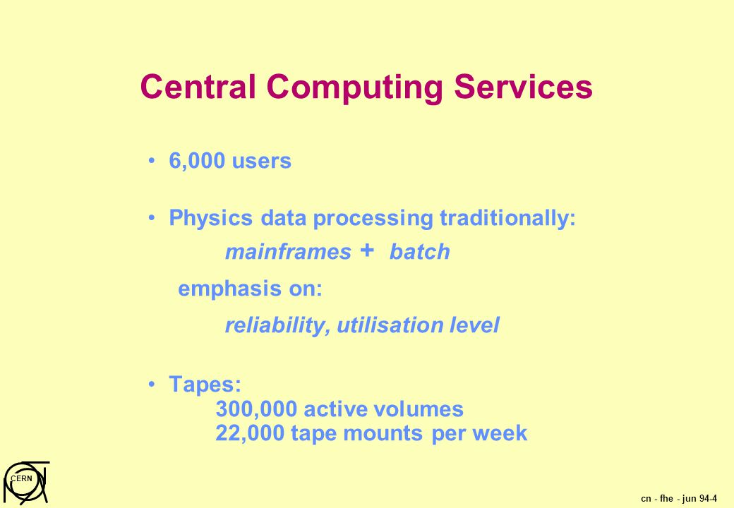 cn - fhe - jun 94-4 CERN Central Computing Services 6,000 users Physics data processing traditionally: mainframes + batch emphasis on: reliability, utilisation level Tapes: 300,000 active volumes 22,000 tape mounts per week