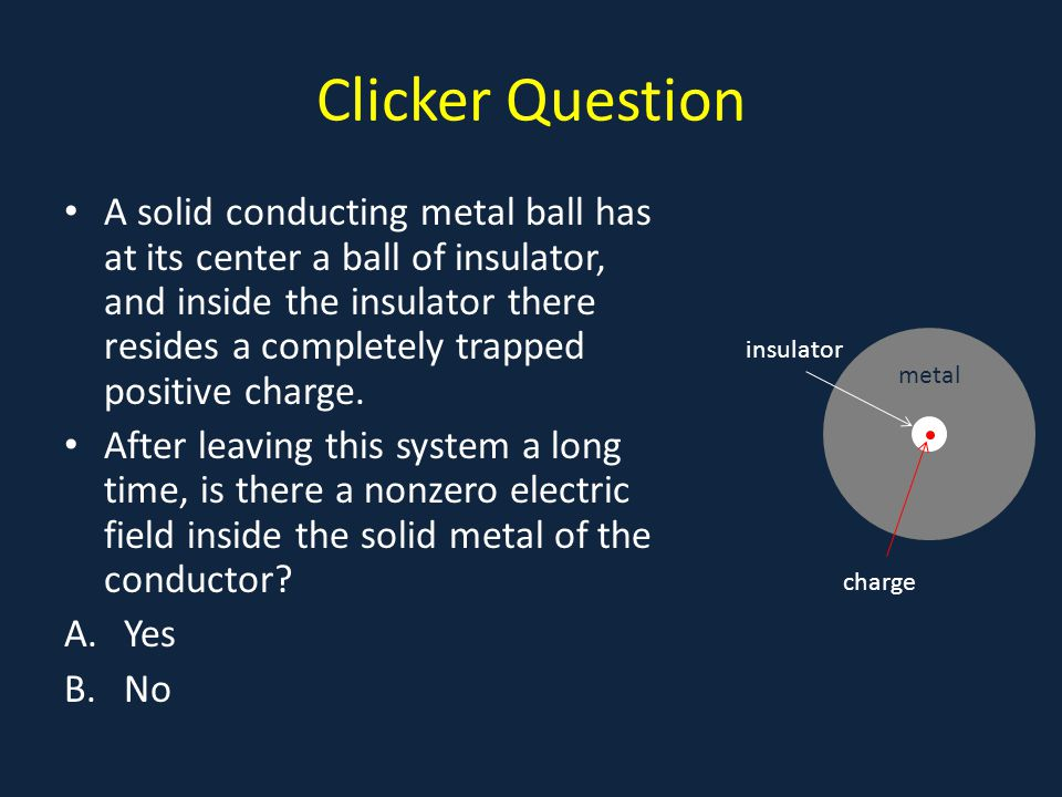 Clicker Answer At the instant the charge is introduced, there will be a momentary radial field, negative charges will flow inwards, positives outwards, to settle on the surfaces: There will be nonzero electric field within the insulator, and outside the ball, but not inside the metal.