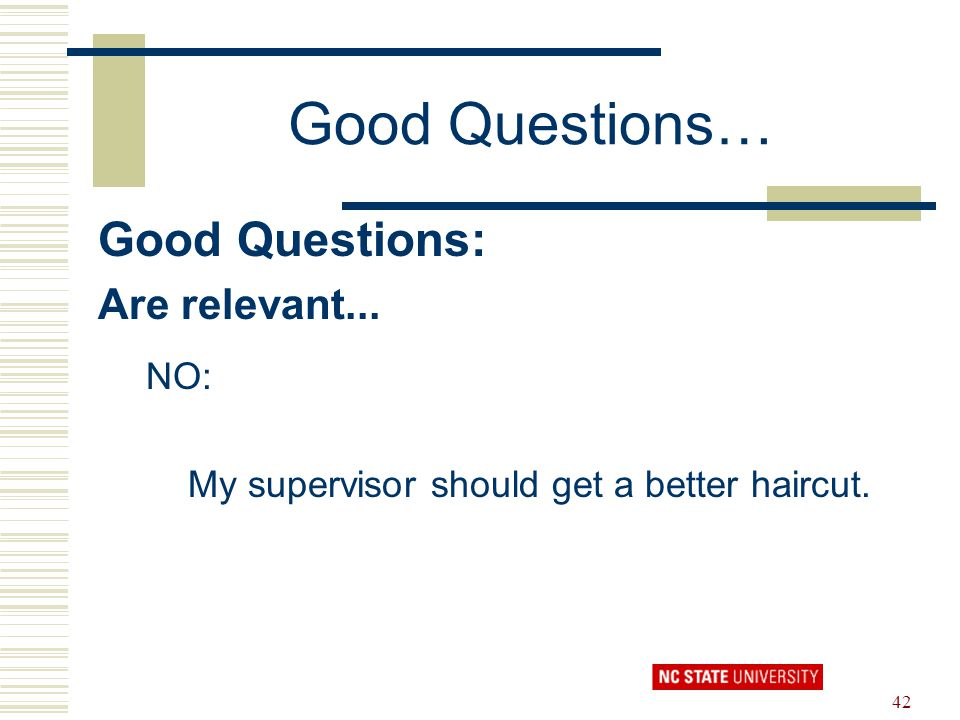 42 Good Questions… Good Questions: Are relevant... NO: My supervisor should get a better haircut.