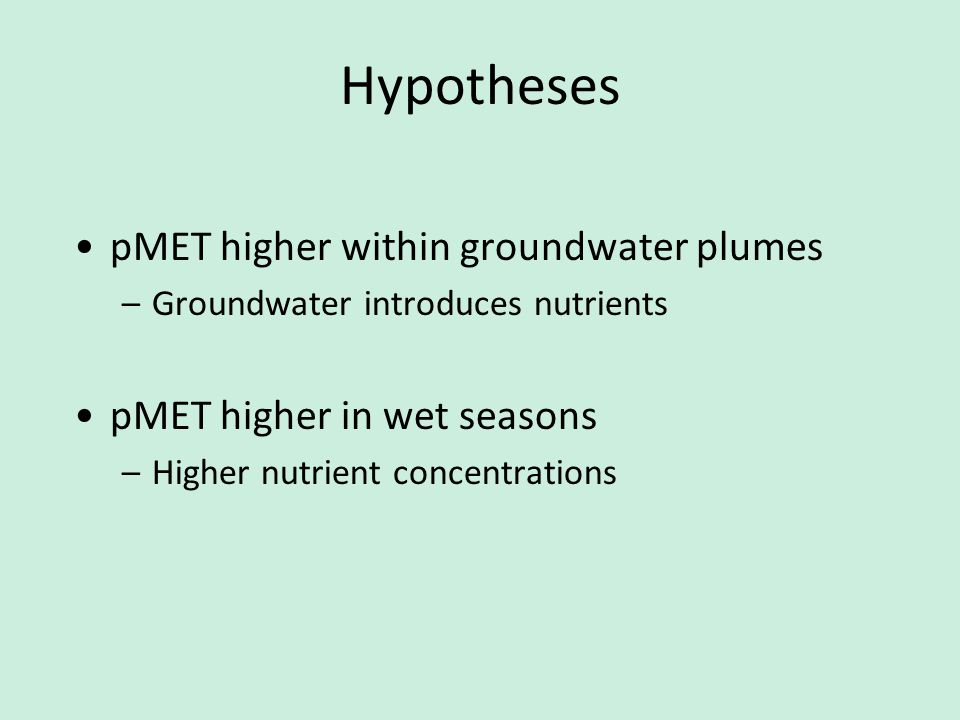 Hypotheses pMET higher within groundwater plumes –Groundwater introduces nutrients pMET higher in wet seasons –Higher nutrient concentrations