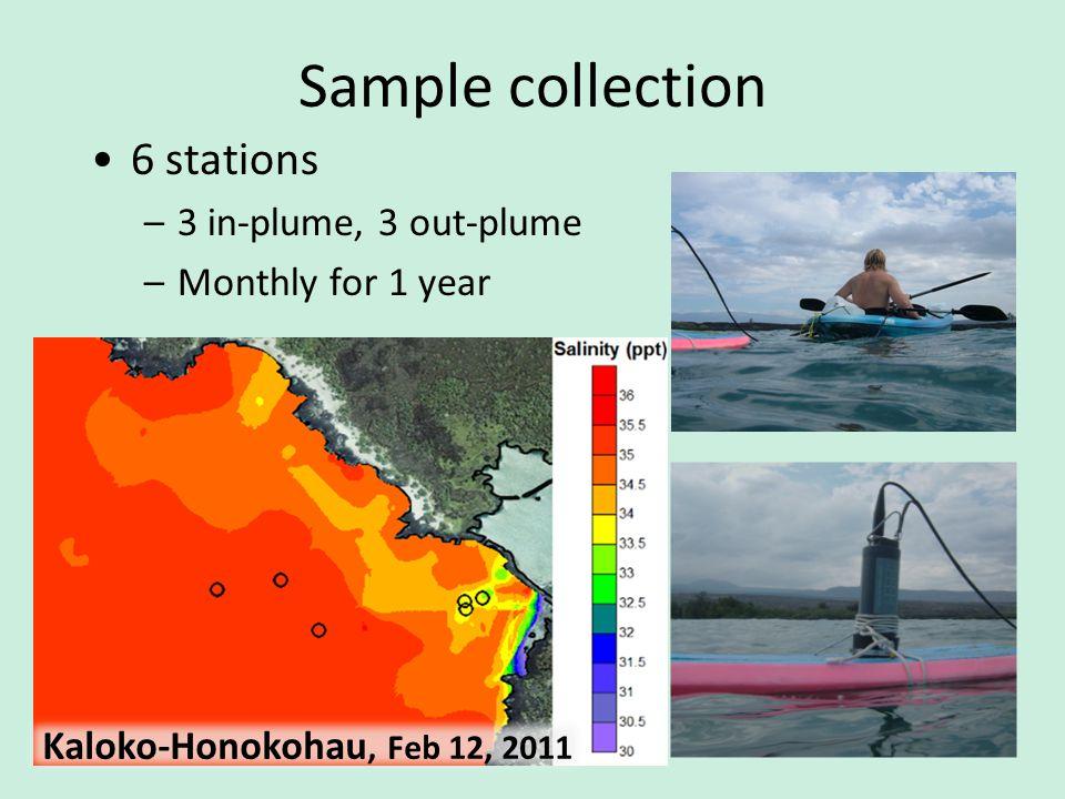 Sample collection 6 stations –3 in-plume, 3 out-plume –Monthly for 1 year Salinity at Kaloko-Honokohau Kaloko-Honokohau, Feb 12, 2011