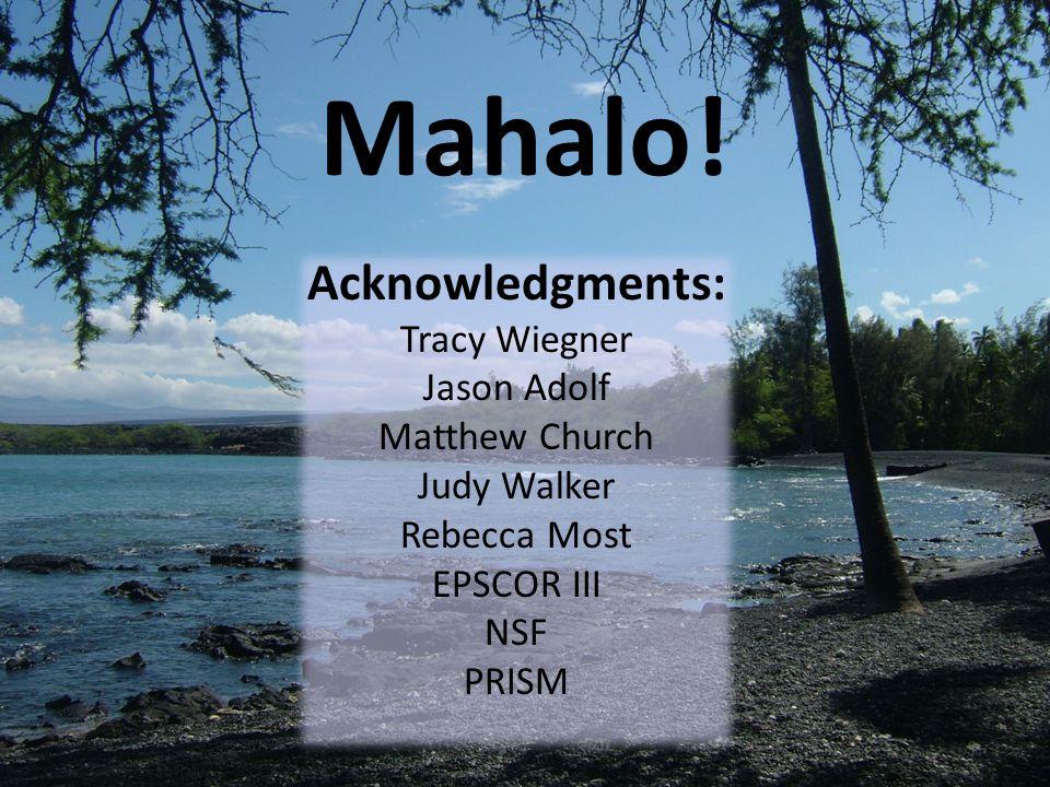 Mahalo! Acknowledgments: Tracy Wiegner Jason Adolf Matthew Church Judy Walker Rebecca Most EPSCOR III NSF PRISM
