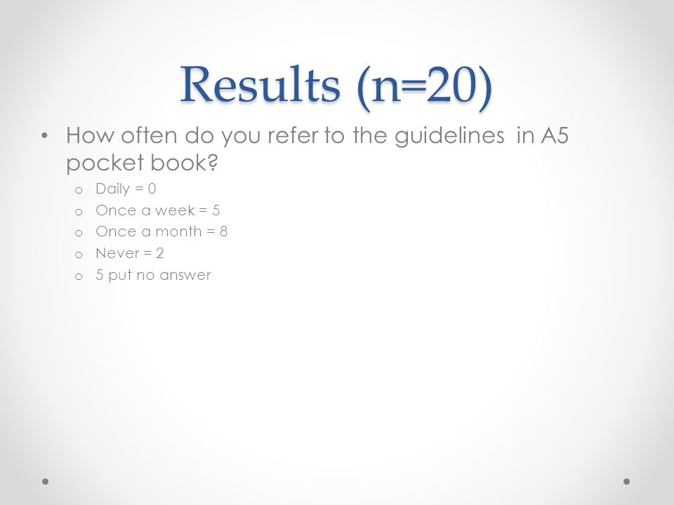 Results (n=20) How often do you refer to the guidelines in A5 pocket book.