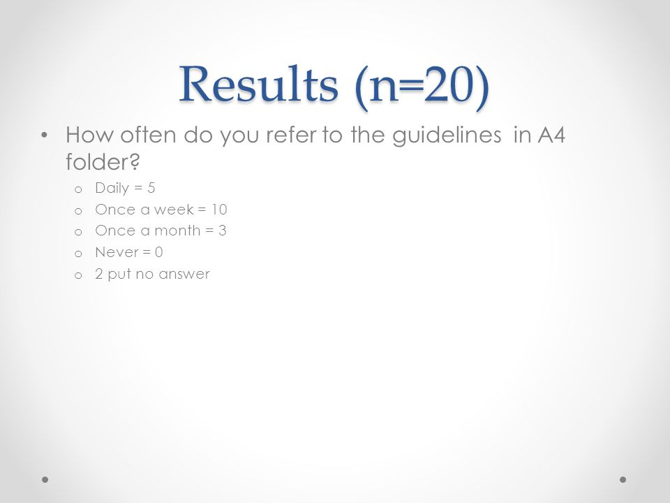Results (n=20) How often do you refer to the guidelines in A4 folder.
