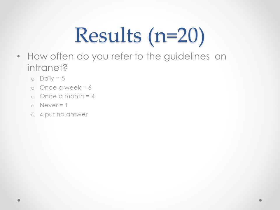 Results (n=20) How often do you refer to the guidelines on intranet.