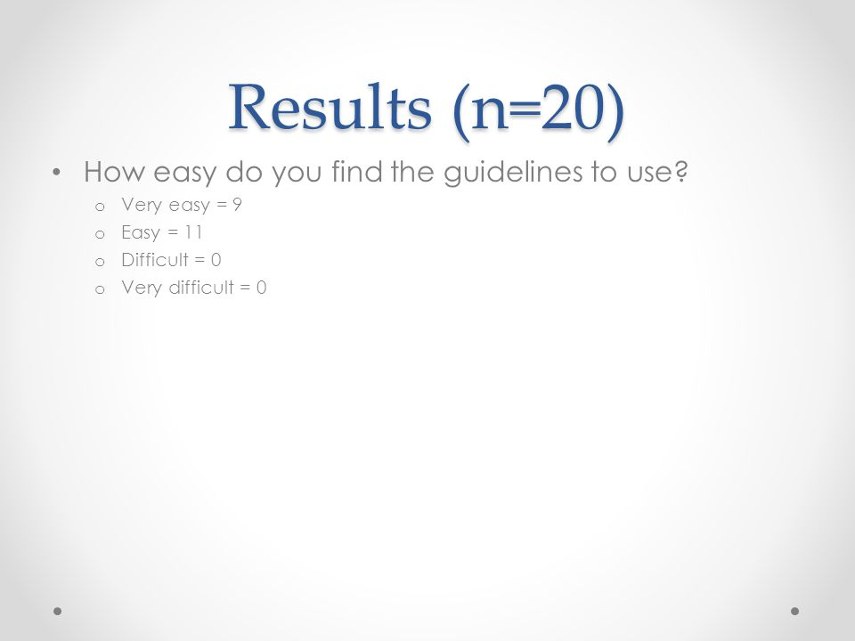 Results (n=20) How easy do you find the guidelines to use.