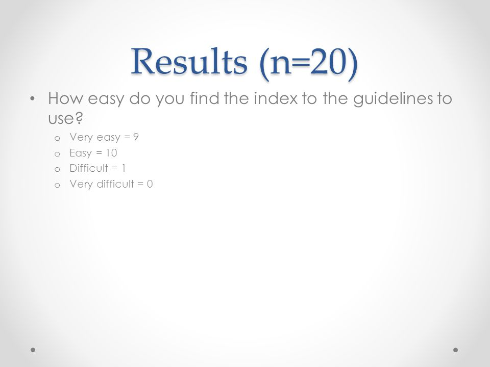 Results (n=20) How easy do you find the index to the guidelines to use.