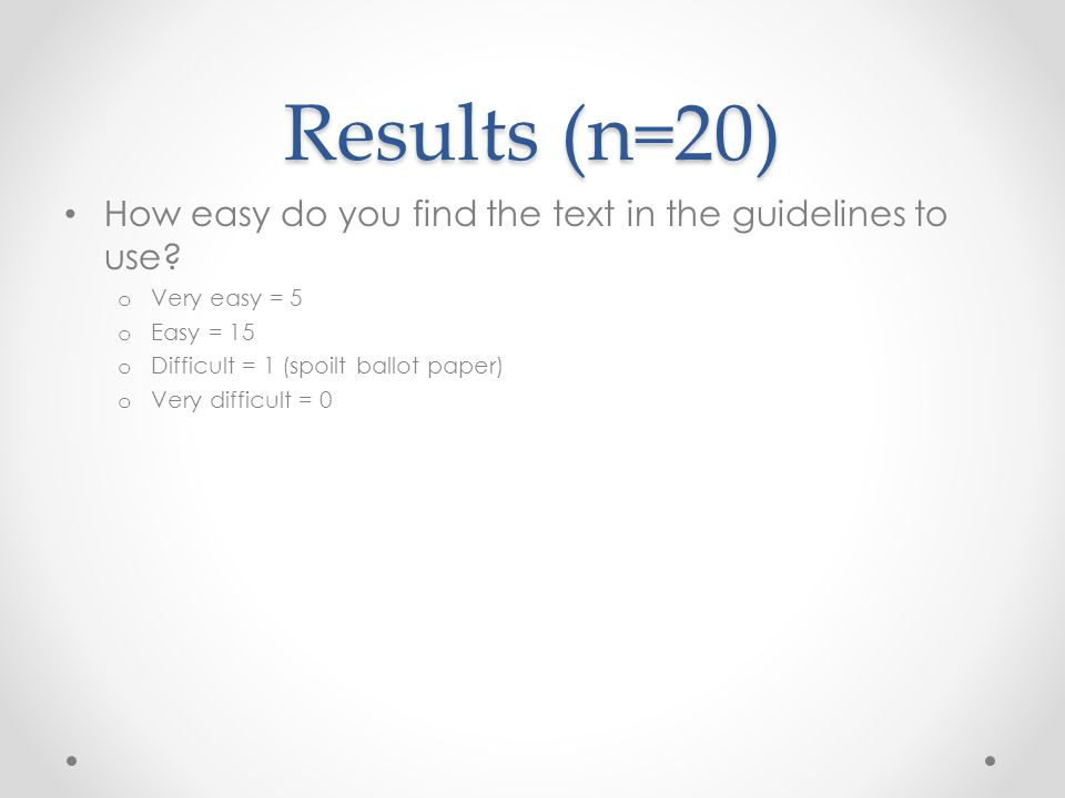 Results (n=20) How easy do you find the text in the guidelines to use.
