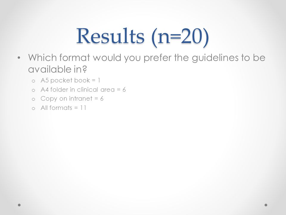 Results (n=20) Which format would you prefer the guidelines to be available in.
