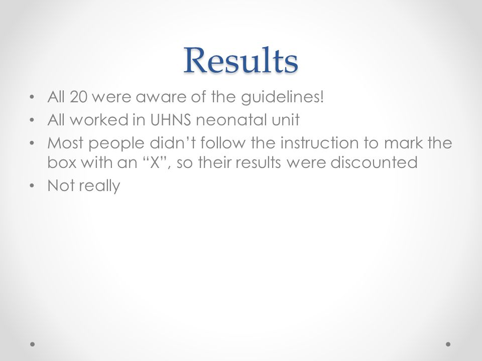 Results (n=20) Where had you seen a copy.