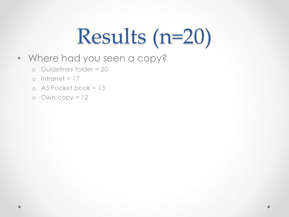 Results (n=20) What do you think about the quantity of information in the guidelines.