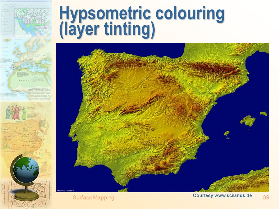 Surface Mapping38 To see to believe? Left: hill-shaded topography with the illumination source located in the South – the real-world simulation for th