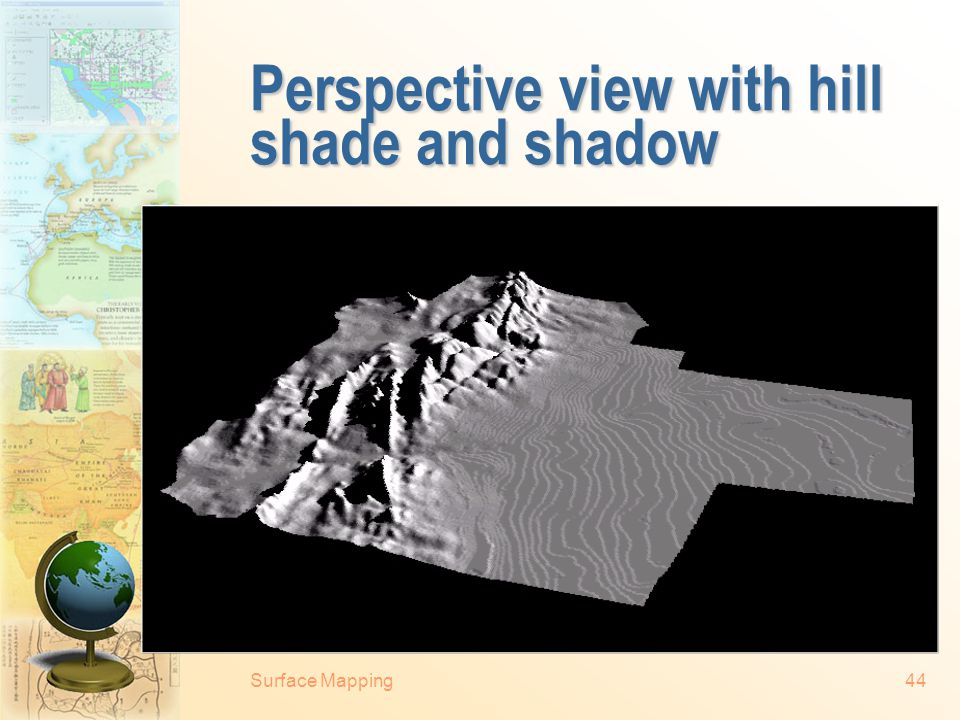 Surface Mapping43 Perspective view with hill shade Shaded 3-dimensional landscape (courtesy