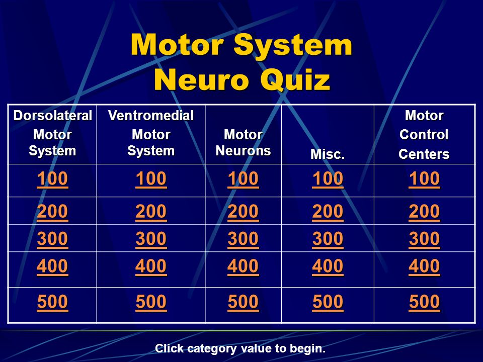 Motor System Neuro Quiz Dorsolateral Motor System Ventromedial Motor Neurons Misc.MotorControlCenters 100 200 300 400 500 Click category value to begin.