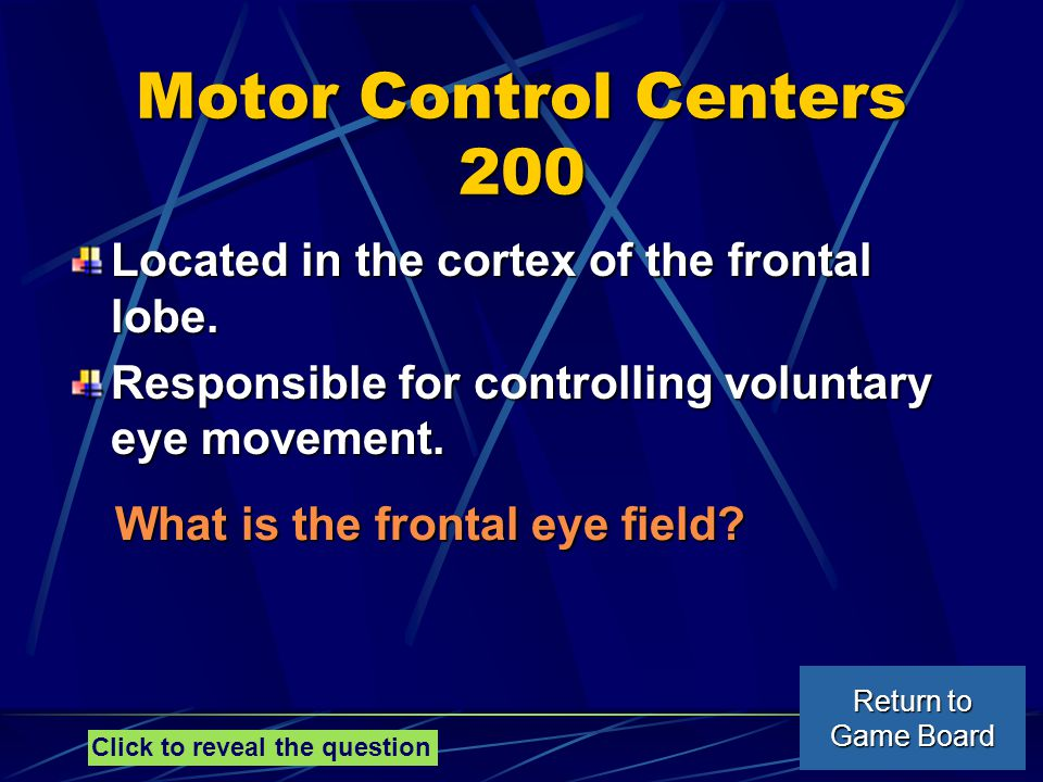 Motor Control Centers 200 Located in the cortex of the frontal lobe.