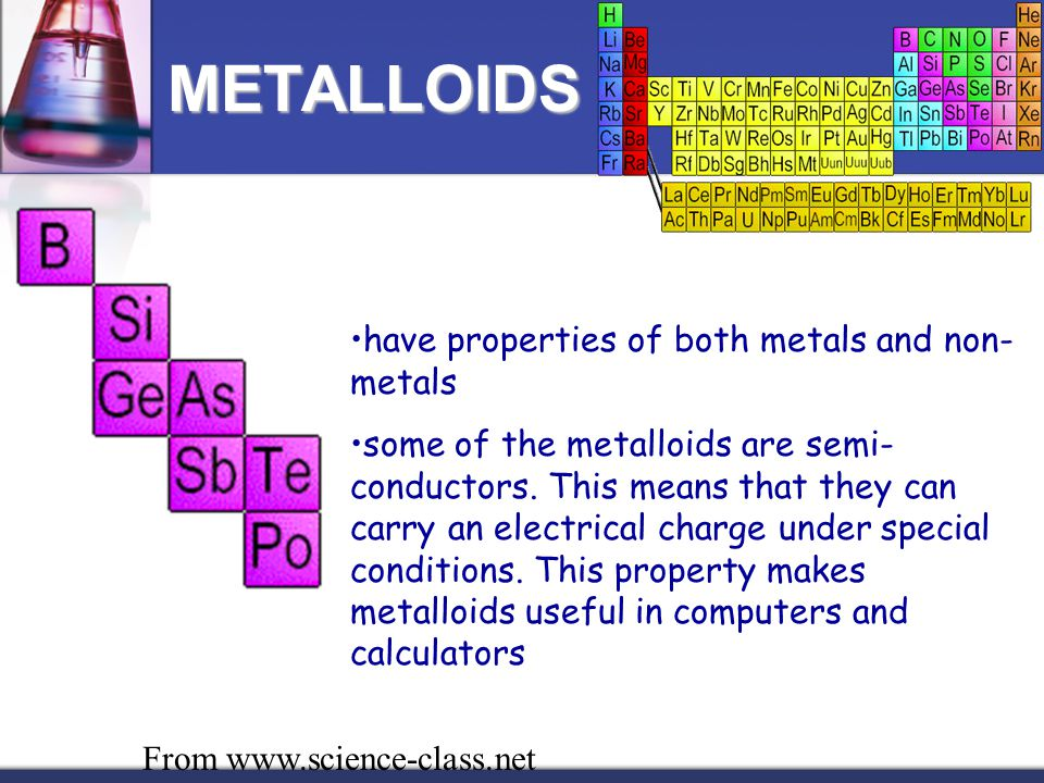 have properties of both metals and non- metals some of the metalloids are semi- conductors. This means that they can carry an electrical charge under