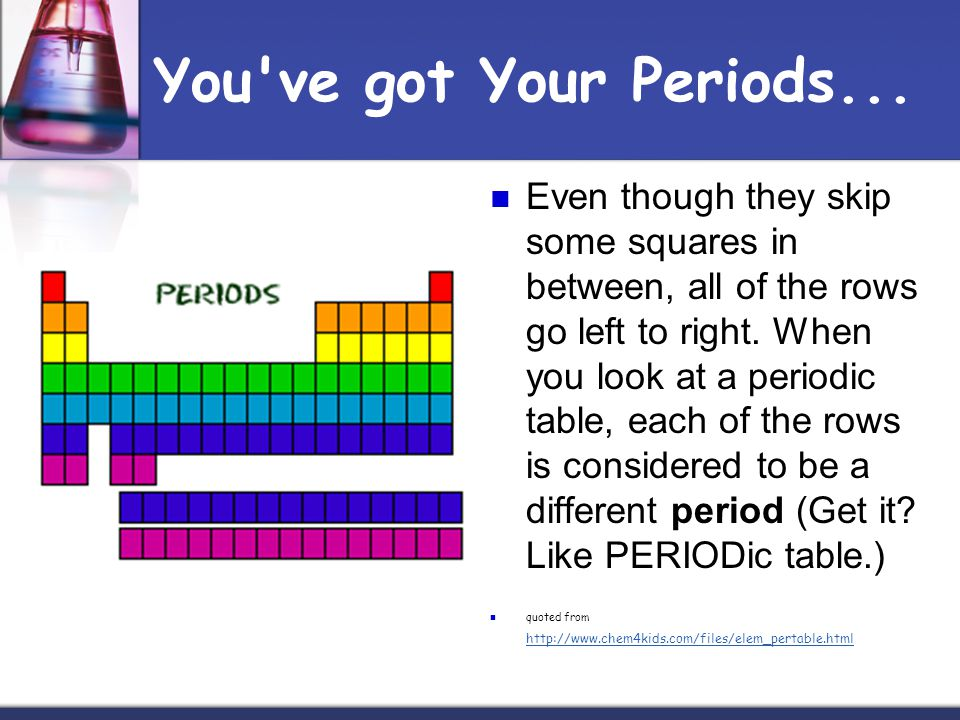 You've got Your Periods... Even though they skip some squares in between, all of the rows go left to right. When you look at a periodic table, each of