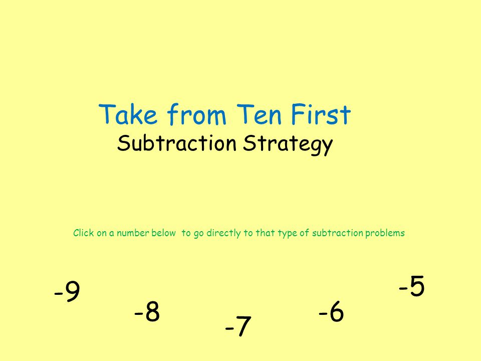 Take from Ten First Subtraction Strategy -9 Click on a number below to go directly to that type of subtraction problems -8-6 -7 -5
