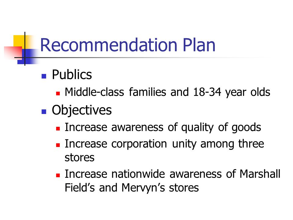 Recommendation Plan Publics Middle-class families and 18-34 year olds Objectives Increase awareness of quality of goods Increase corporation unity among three stores Increase nationwide awareness of Marshall Field's and Mervyn's stores