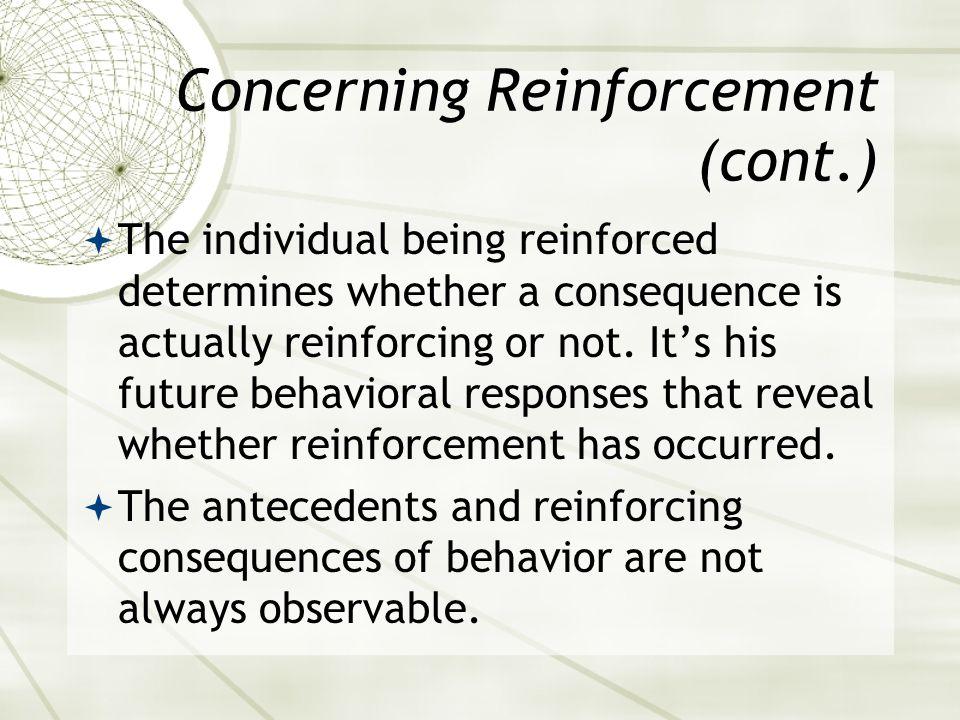 Characteristics of Reinforcements & Punishments AntecedentBehaviorConsequence Positive Reinforcement No specific requirement.