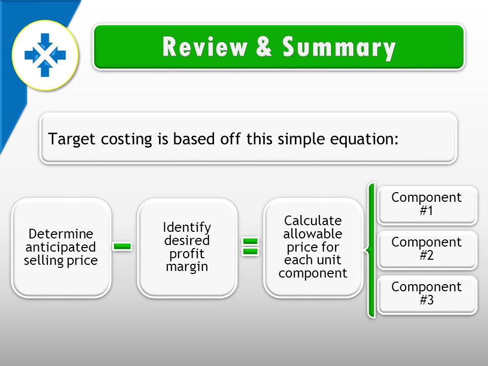 Determine anticipated selling price Identify desired profit margin Calculate allowable price for each unit component Component #1 Component #2 Component #3 Target costing is based off this simple equation: