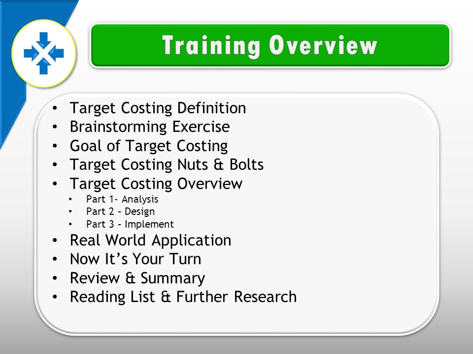 Target Costing Definition Brainstorming Exercise Goal of Target Costing Target Costing Nuts & Bolts Target Costing Overview Part 1- Analysis Part 2 – Design Part 3 – Implement Real World Application Now It's Your Turn Review & Summary Reading List & Further Research Target Costing Definition Brainstorming Exercise Goal of Target Costing Target Costing Nuts & Bolts Target Costing Overview Part 1- Analysis Part 2 – Design Part 3 – Implement Real World Application Now It's Your Turn Review & Summary Reading List & Further Research