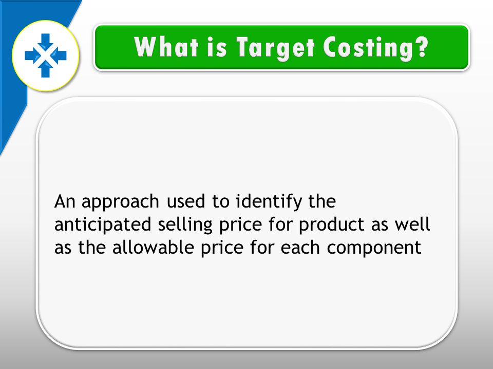 An approach used to identify the anticipated selling price for product as well as the allowable price for each component