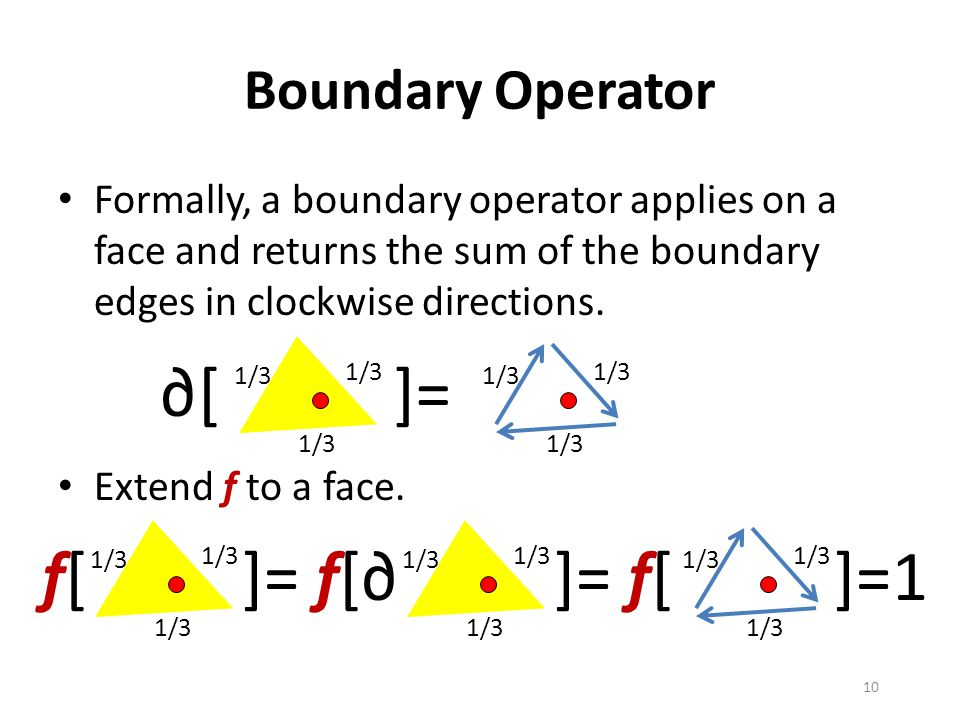 Boundary Operator Formally, a boundary operator applies on a face and returns the sum of the boundary edges in clockwise directions.