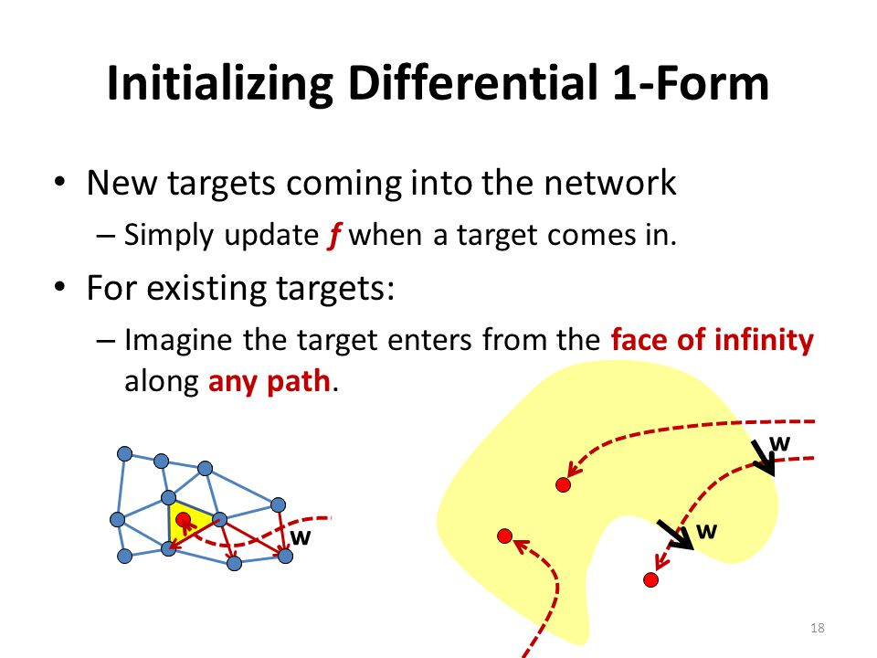 Initializing Differential 1-Form New targets coming into the network – Simply update f when a target comes in.