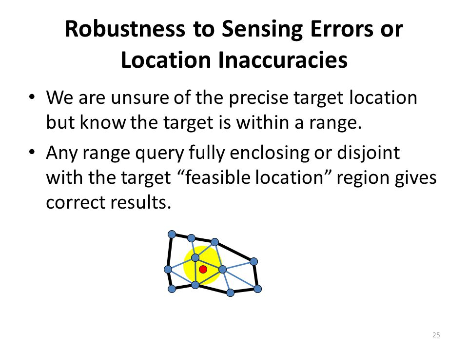 Robustness to Sensing Errors or Location Inaccuracies We are unsure of the precise target location but know the target is within a range. Any range qu