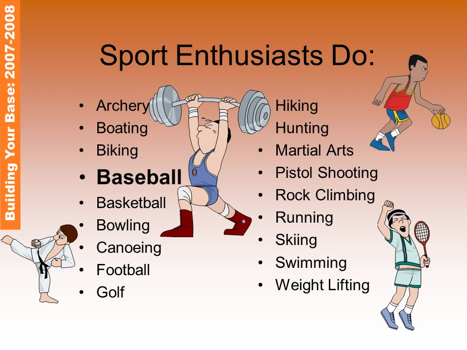 Sport Enthusiasts Do: Archery Boating Biking Baseball Basketball Bowling Canoeing Football Golf Hiking Hunting Martial Arts Pistol Shooting Rock Climbing Running Skiing Swimming Weight Lifting Building Your Base: 2007-2008