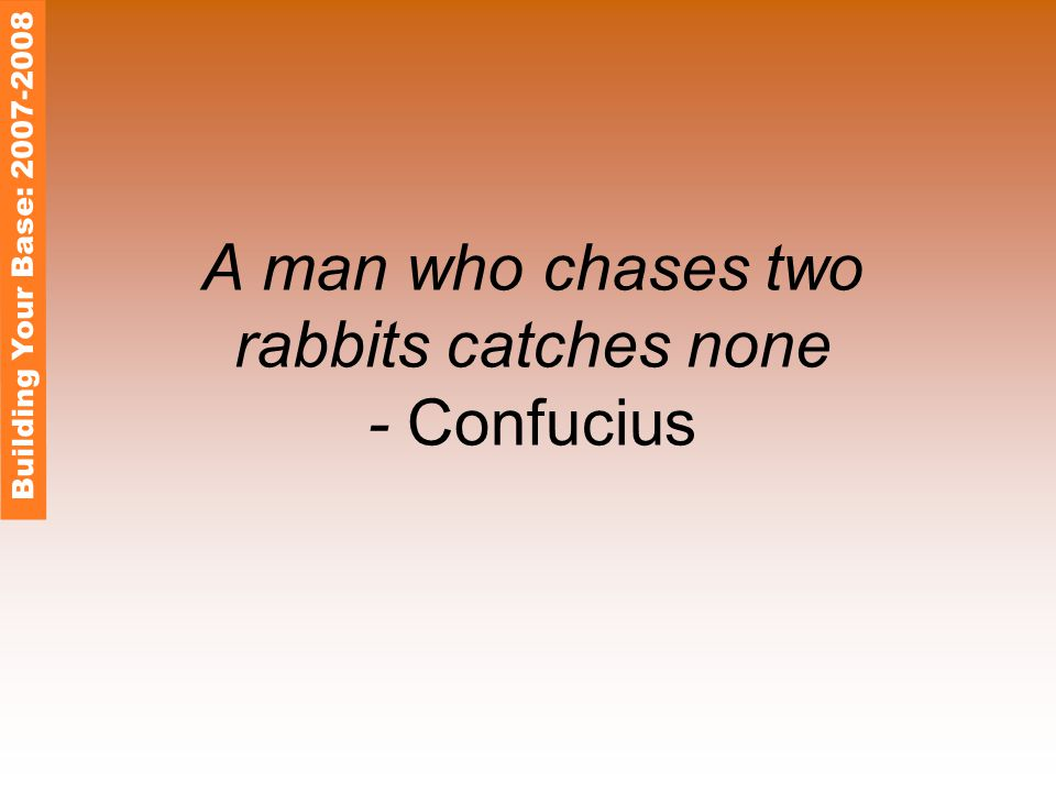 A man who chases two rabbits catches none - Confucius Building Your Base: 2007-2008
