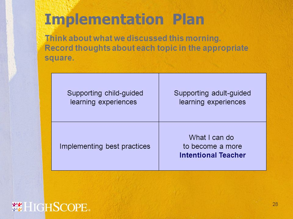 28 Implementing best practices Supporting child-guided learning experiences Supporting adult-guided learning experiences What I can do to become a mor