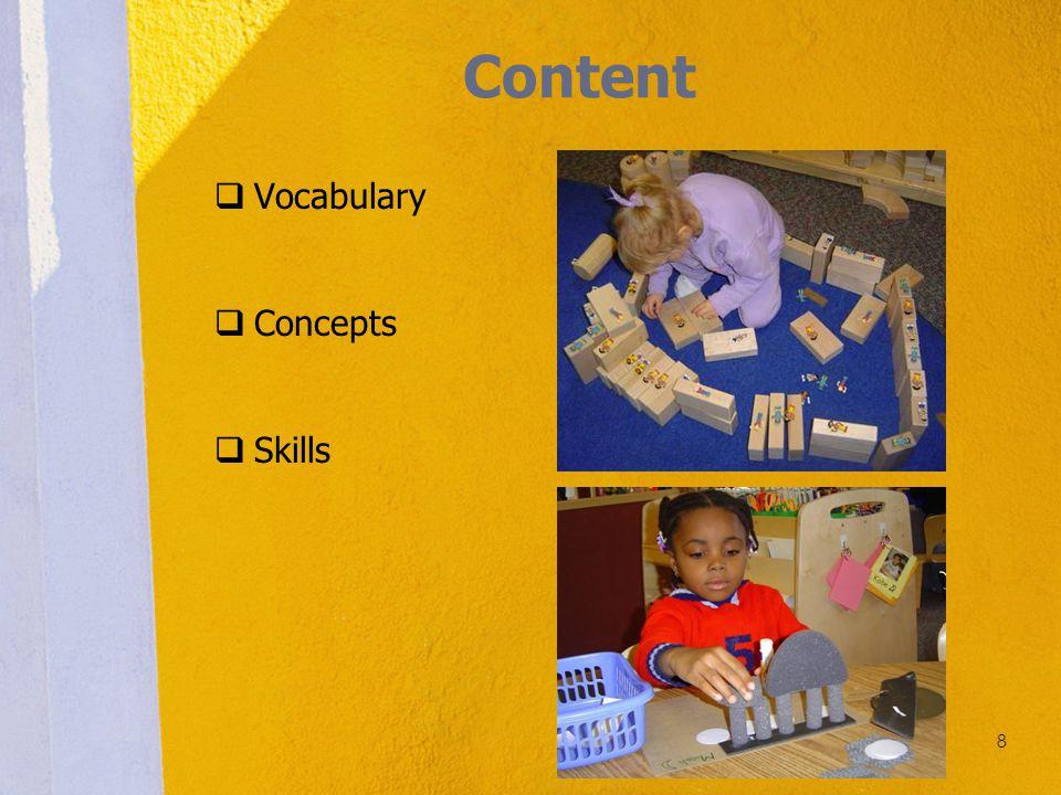 Content  Vocabulary  Concepts  Skills 8