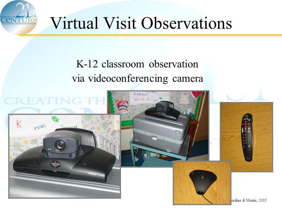 © Scordias & Morris, 2005 Virtual Visit Observations K-12 classroom observation via videoconferencing camera