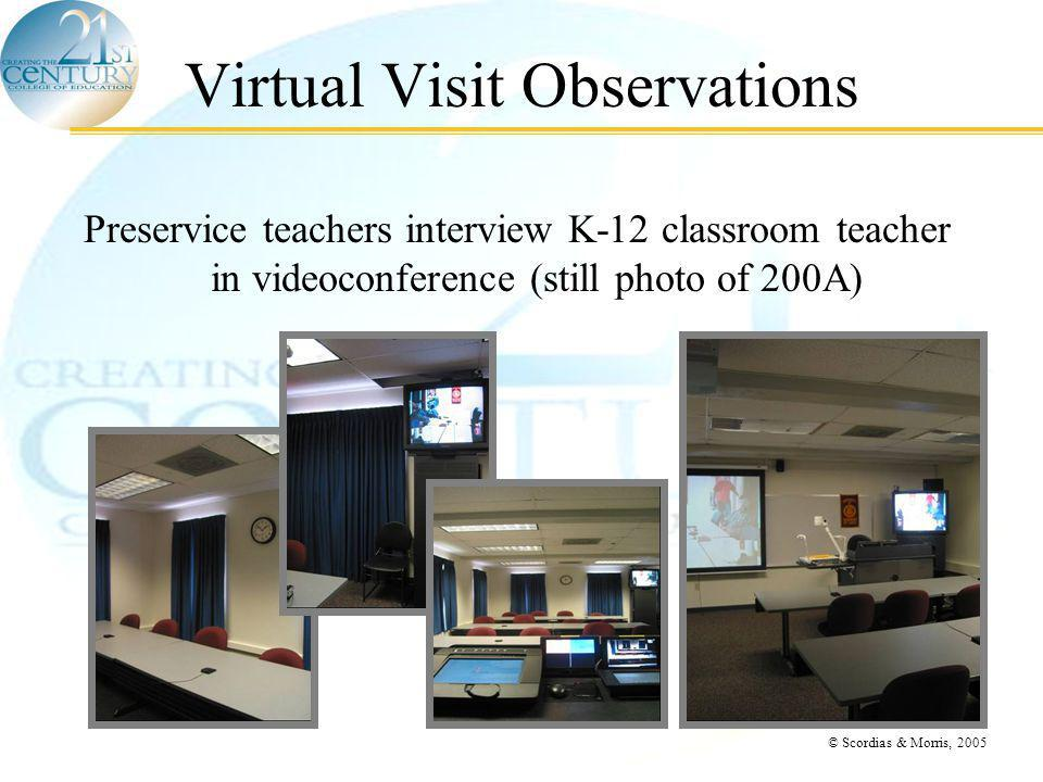 © Scordias & Morris, 2005 Virtual Visit Observations Preservice teachers interview K-12 classroom teacher in videoconference (still photo of 200A)