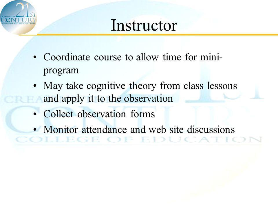 © Scordias & Morris, 2005 Instructor Coordinate course to allow time for mini- program May take cognitive theory from class lessons and apply it to the observation Collect observation forms Monitor attendance and web site discussions