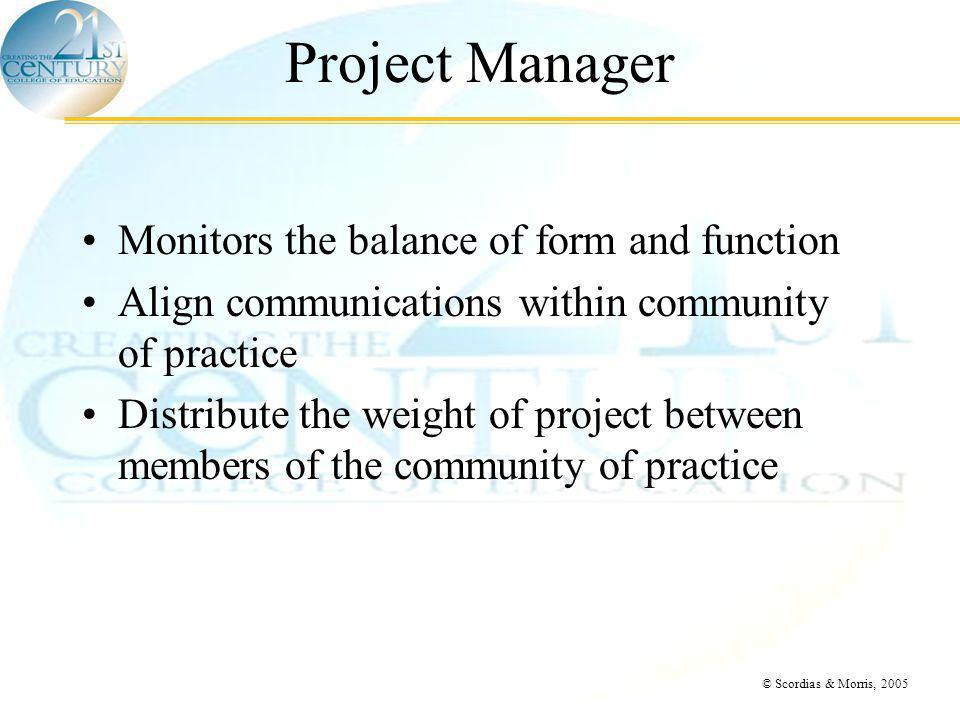 © Scordias & Morris, 2005 Project Manager Monitors the balance of form and function Align communications within community of practice Distribute the weight of project between members of the community of practice
