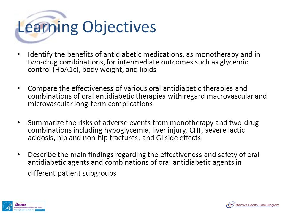 Learning Objectives Identify the benefits of antidiabetic medications, as monotherapy and in two-drug combinations, for intermediate outcomes such as