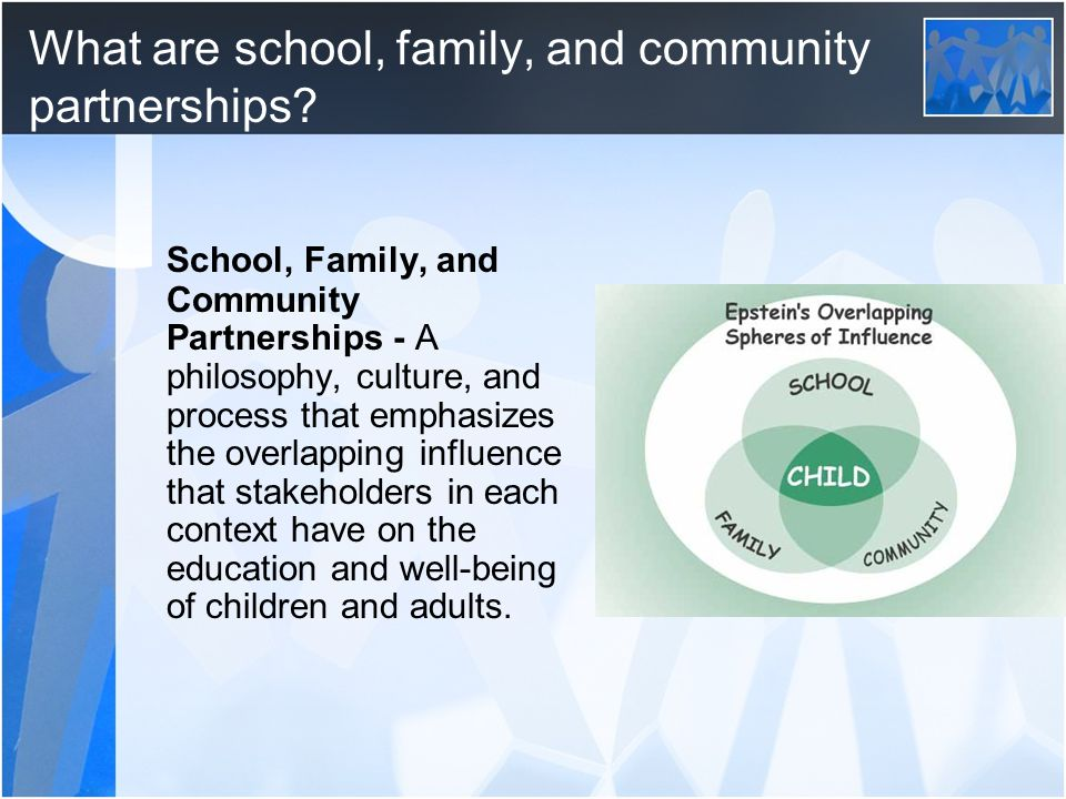 Epstein's Framework of 6 Types of Involvement Comprehensive partnership programs have activities that support the following types of involvement: Type 1 – Parenting Type 2 – Communicating Type 3 – Volunteering Type 4 – Learning at Home Type 5 – Decision Making Type 6 – Collaborating with the Community
