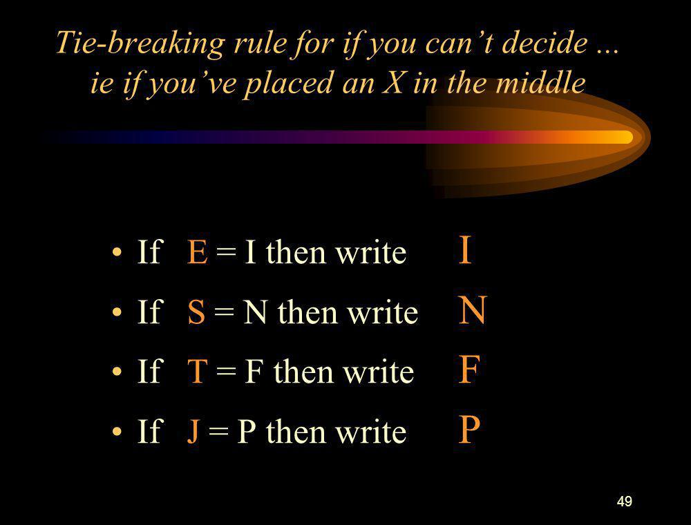 49 Tie-breaking rule for if you can't decide... ie if you've placed an X in the middle If E = I then write I If S = N then write N If T = F then write