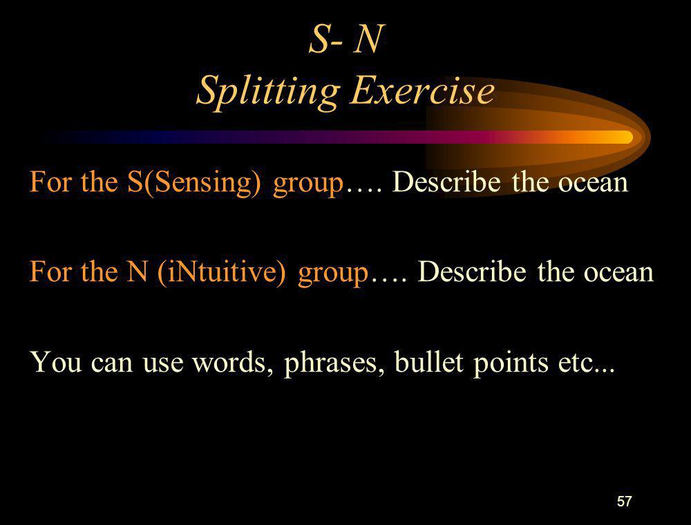 57 S- N Splitting Exercise For the S(Sensing) group…. Describe the ocean For the N (iNtuitive) group…. Describe the ocean You can use words, phrases,