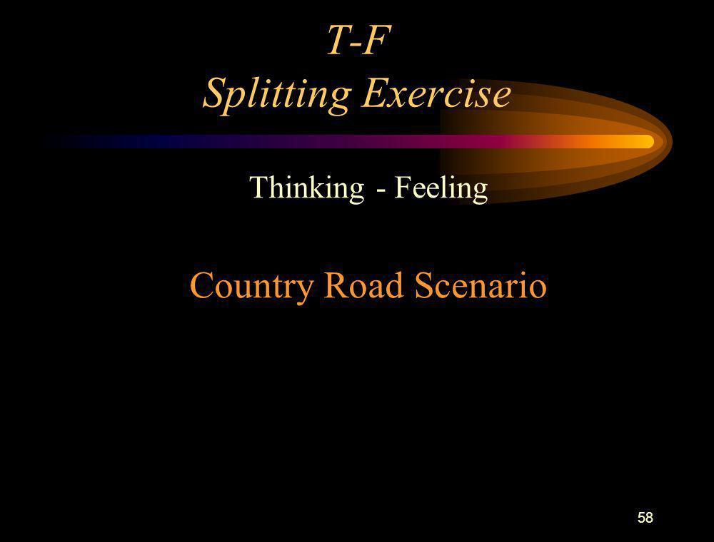 58 T-F Splitting Exercise Thinking - Feeling Country Road Scenario