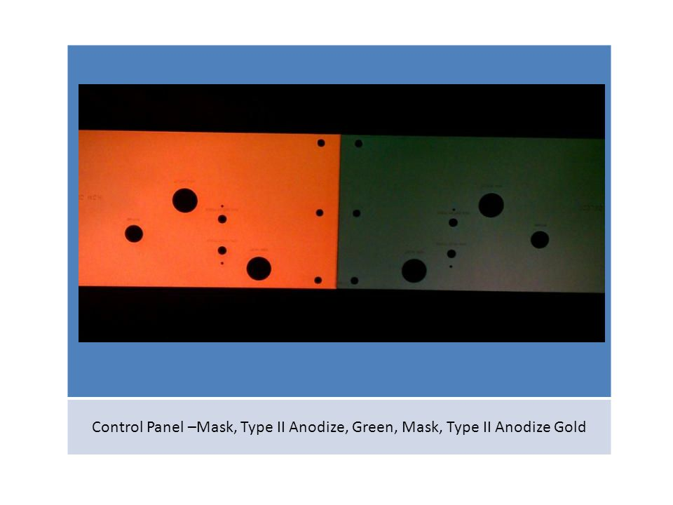 Control Panel –Mask, Type II Anodize, Green, Mask, Type II Anodize Gold