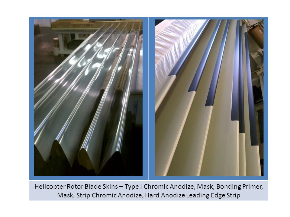 Helicopter Rotor Blade Skins – Type I Chromic Anodize, Mask, Bonding Primer, Mask, Strip Chromic Anodize, Hard Anodize Leading Edge Strip