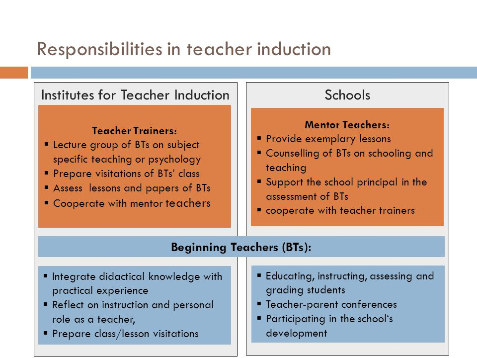 Responsibilities in teacher induction SchoolsInstitutes for Teacher Induction Beginning Teachers (BTs): Teacher Trainers:  Lecture group of BTs on subject specific teaching or psychology  Prepare visitations of BTs' class  Assess lessons and papers of BTs  Cooperate with mentor teachers Mentor Teachers:  Provide exemplary lessons  Counselling of BTs on schooling and teaching  Support the school principal in the assessment of BTs  cooperate with teacher trainers  Educating, instructing, assessing and grading students  Teacher-parent conferences  Participating in the school's development  Integrate didactical knowledge with practical experience  Reflect on instruction and personal role as a teacher,  Prepare class/lesson visitations