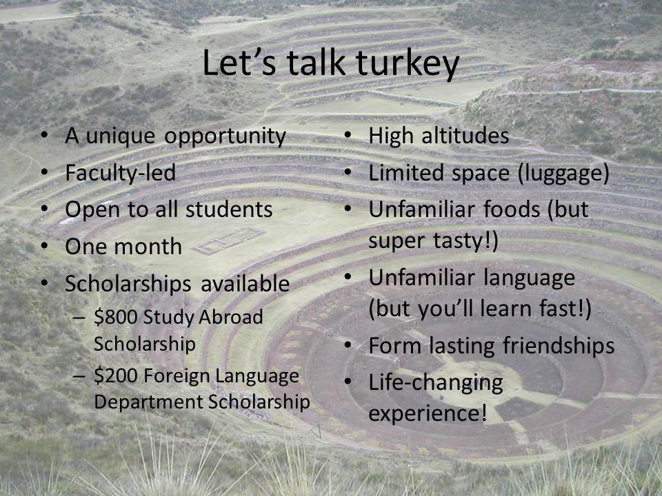 Let's talk turkey A unique opportunity Faculty-led Open to all students One month Scholarships available – $800 Study Abroad Scholarship – $200 Foreign Language Department Scholarship High altitudes Limited space (luggage) Unfamiliar foods (but super tasty!) Unfamiliar language (but you'll learn fast!) Form lasting friendships Life-changing experience!