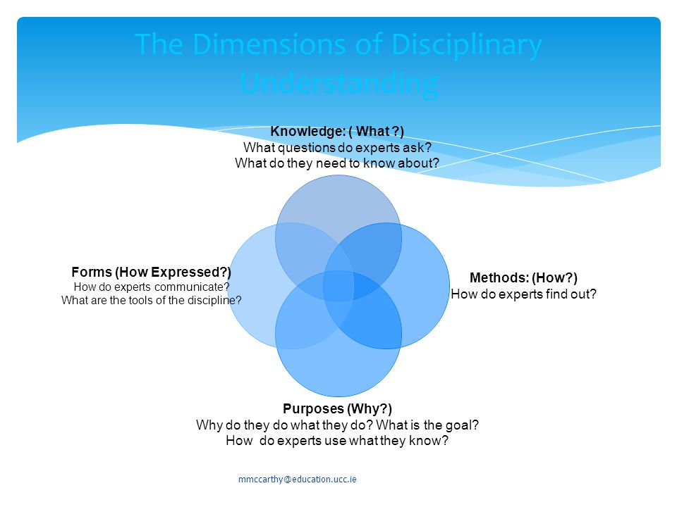 The Dimensions of Disciplinary Understanding Knowledge: ( What ) What questions do experts ask.