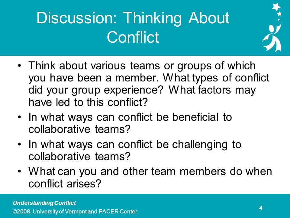 5 Understanding Conflict ©2008, University of Vermont and PACER Center Overview of the Five Conflict Response Styles  Avoiding : Not addressing the existence of conflict.