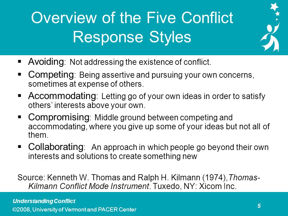 6 Understanding Conflict ©2008, University of Vermont and PACER Center Group Activity: Exploring Your Personal Conflict Styles Based on the definitions provided above, pick the one style that best describes how you respond to conflict in a team situation.